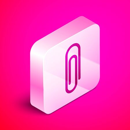 Isometric Paper clip icon isolated on pink background. Silver square button. Vector Illustration Illustration