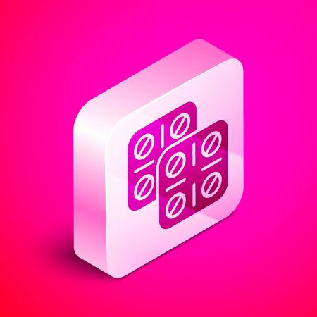 Isometric Pills in blister pack icon isolated on pink background. Medical drug package for tablet vitamin, antibiotic, aspirin. Silver square button. Vector Illustration