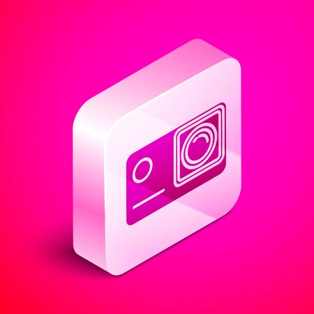 Isometric Action extreme camera icon isolated on pink background. Video camera equipment for filming extreme sports. Silver square button. Vector Illustration