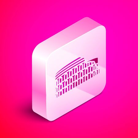 Isometric Coliseum in Rome, Italy icon isolated on pink background. Colosseum sign. Symbol of Ancient Rome, gladiator fights. Silver square button. Vector Illustration