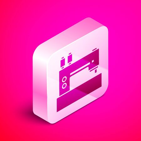 Isometric Sewing machine icon isolated on pink background. Silver square button. Vector Illustration