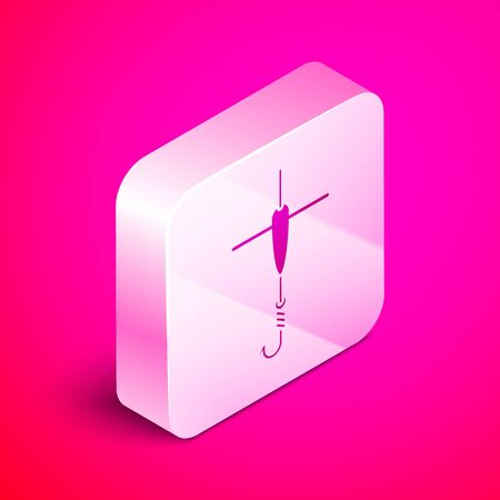 Isometric Fishing hook and float icon isolated on pink background. Fishing tackle. Silver square button. Vector Illustration