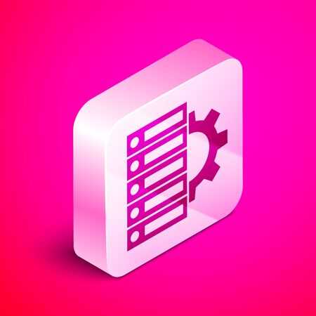Isometric Server and gear icon isolated on pink background. Adjusting app, service concept, setting options, maintenance, repair, fixing. Silver square button. Vector Illustration