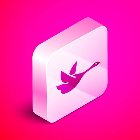 Isometric Flying duck icon isolated on pink background. Silver square button. Vector Illustration