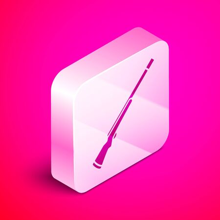 Isometric Hunting gun icon isolated on pink background. Hunting shotgun. Silver square button. Vector Illustration