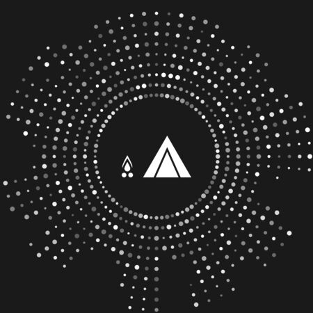 White Tourist tent with wood fire icon isolated on grey background. Camping symbol. Abstract circle random dots. Vector Illustration  イラスト・ベクター素材