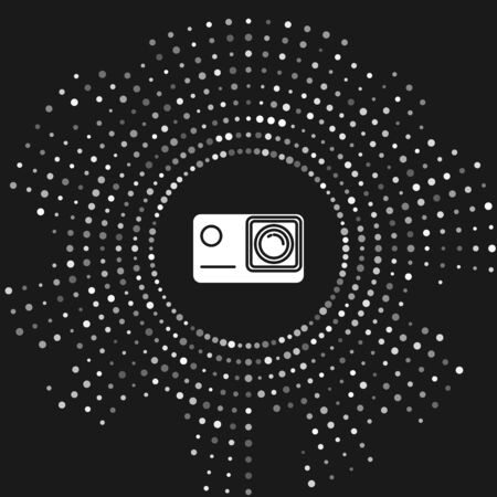 White Action extreme camera icon isolated on grey background. Video camera equipment for filming extreme sports. Abstract circle random dots. Vector Illustration