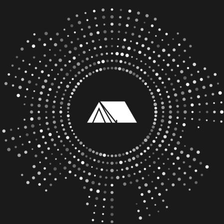 White Tourist tent icon isolated on grey background. Camping symbol. Abstract circle random dots. Vector Illustration  イラスト・ベクター素材