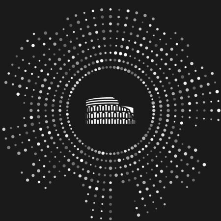 White Coliseum in Rome, Italy icon isolated on grey background. Colosseum sign. Symbol of Ancient Rome, gladiator fights. Abstract circle random dots. Vector Illustration