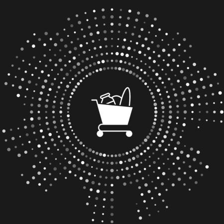 White Shopping cart and food icon isolated on grey background. Food store, supermarket. Abstract circle random dots. Vector Illustration