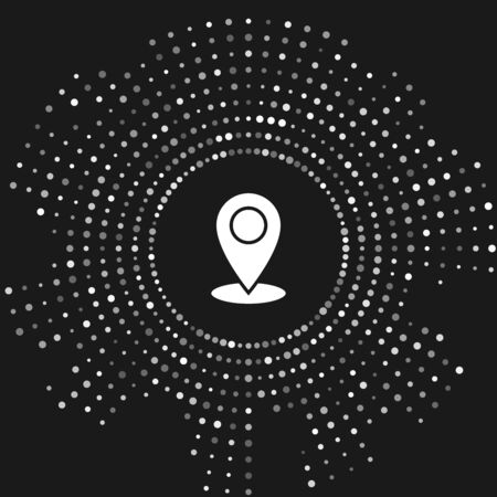 White Map pin icon isolated on grey background. Navigation, pointer, location, map, gps, direction, place, compass, contact, search concept. Abstract circle random dots. Vector Illustration