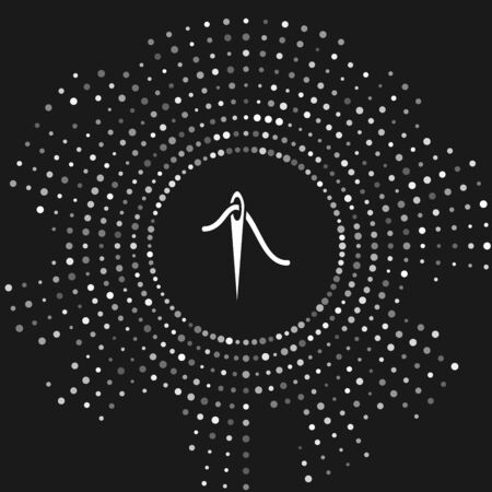 White Needle for sewing with thread icon isolated on grey background. Tailor symbol. Textile sew up craft sign. Embroidery tool. Abstract circle random dots. Vector Illustration Banco de Imagens - 128470958
