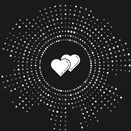 White Two Linked Hearts icon isolated on grey background. Romantic symbol linked, join, passion and wedding. Valentine day symbol. Abstract circle random dots. Vector Illustration Banco de Imagens - 128470985