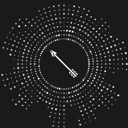 White Hipster arrow icon isolated on grey background. Abstract circle random dots. Vector Illustration Ilustração