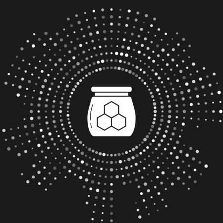 White Jar of honey icon isolated on grey background. Food bank. Sweet natural food symbol. Abstract circle random dots. Vector Illustration