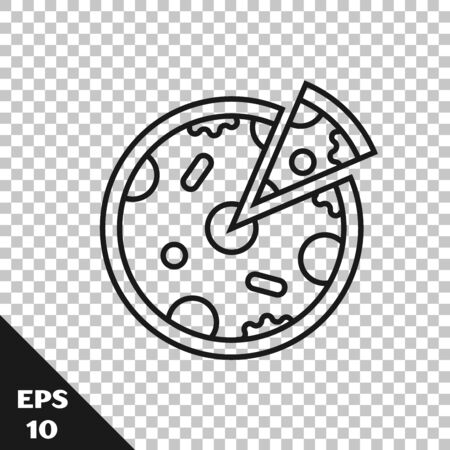 Black line Pizza icon isolated on transparent background. Fast food menu. Vector Illustration