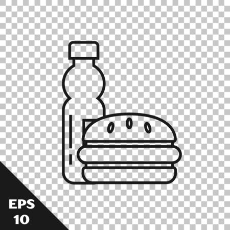 Black line Bottle of water and burger icon isolated on transparent background. Soda aqua drink sign. Hamburger, cheeseburger sandwich. Fast food menu. Vector Illustration