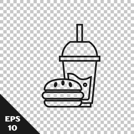 Black line Paper glass with drinking straw and burger icon isolated on transparent background. Soda aqua drink sign. Hamburger, cheeseburger sandwich. Vector Illustration Ilustração