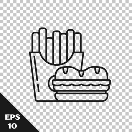 Black line Burger and french fries in carton package box icon isolated on transparent background. Hamburger, cheeseburger sandwich. Fast food menu. Vector Illustration Ilustração
