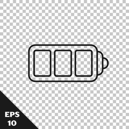 Black line Battery charge level indicator icon isolated on transparent background. Vector Illustration