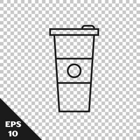 Black line Paper glass and water icon isolated on transparent background. Soda drink glass. Fresh cold beverage symbol. Vector Illustration