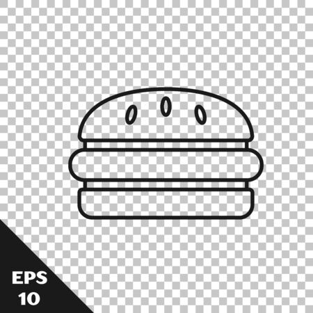Black line Burger icon isolated on transparent background. Hamburger icon. Cheeseburger sandwich sign. Fast food menu. Vector Illustration