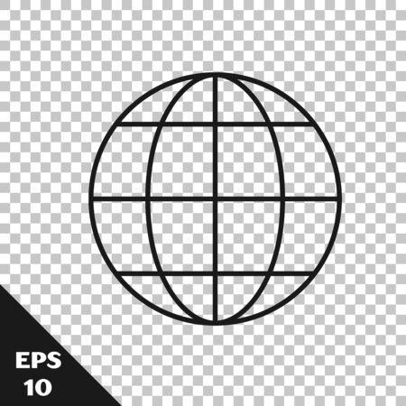 Black line Earth globe icon isolated on transparent background. World or Earth sign. Global internet symbol. Geometric shapes. Vector Illustration Ilustracja