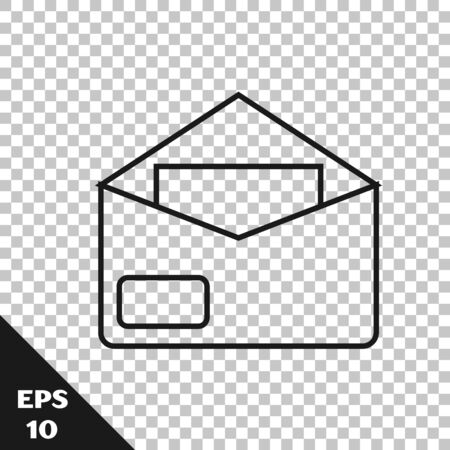 Black line Envelope icon isolated on transparent background. Email message letter symbol. Vector Illustration