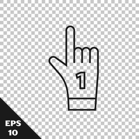 Black line Number 1 one fan hand glove with finger raised icon isolated on transparent background. Symbol of team support in competitions. Vector Illustration Ilustração