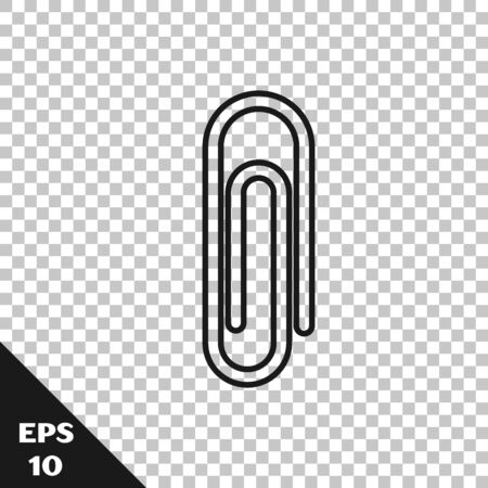 Black line Paper clip icon isolated on transparent background. Vector Illustration