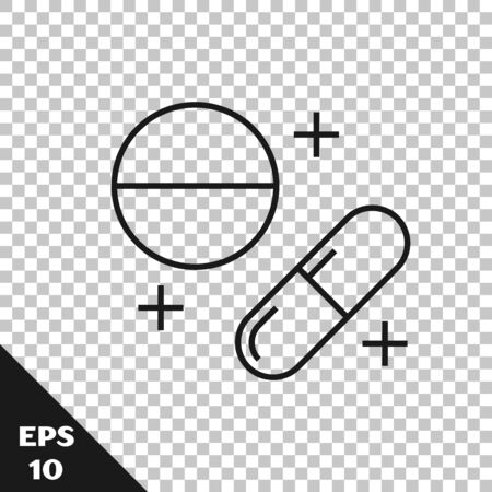 Black line Medicine pill or tablet icon isolated on transparent background. Capsule pill and drug sign. Pharmacy design. Vector Illustration