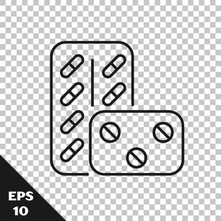 Black line Pills in blister pack icon isolated on transparent background. Medical drug package for tablet vitamin, antibiotic, aspirin. Vector Illustration