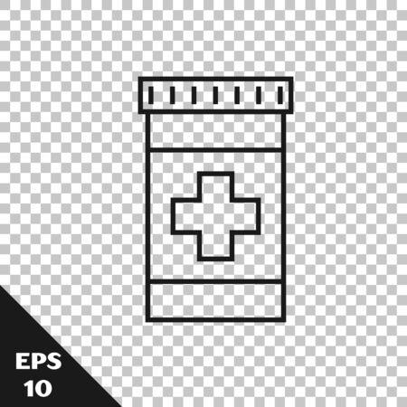 Black line Medicine bottle icon isolated on transparent background. Bottle pill sign. Pharmacy design. Vector Illustration