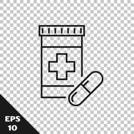 Black line Medicine bottle and pills icon isolated on transparent background. Bottle pill sign. Pharmacy design. Vector Illustration