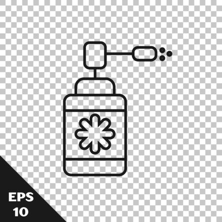 Black line Medical bottle with nozzle spray for the treatment of diseases of the nose and throat icon isolated on transparent background. Vector Illustration