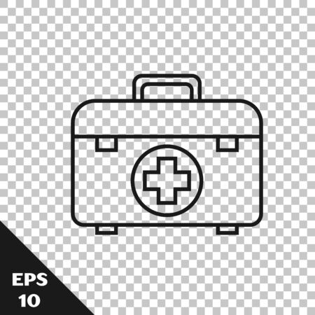 Black line First aid kit icon isolated on transparent background. Medical box with cross. Medical equipment for emergency. Healthcare concept. Vector Illustration 向量圖像