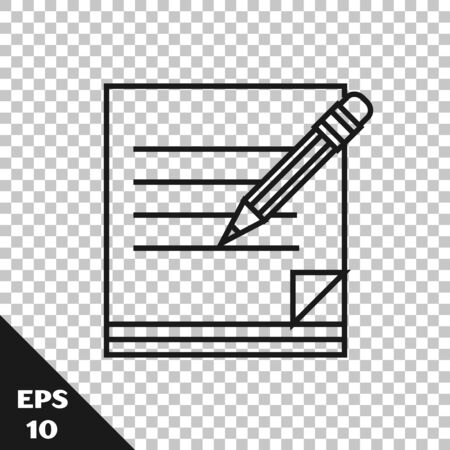 Black line Blank notebook and pencil with eraser icon isolated on transparent background. Paper and pencil. Vector Illustration Ilustracja