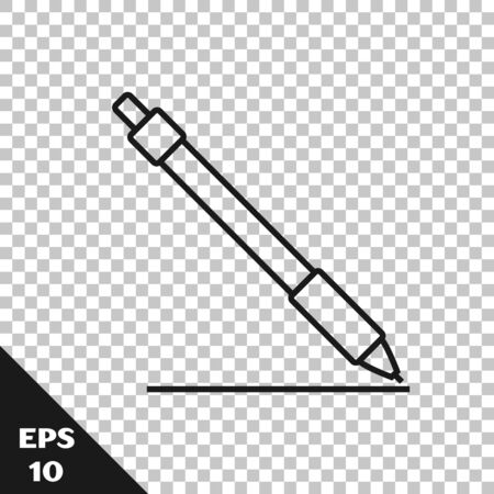 Black line Pen line icon isolated on transparent background. Vector Illustration 일러스트