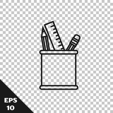Black line Pencil case stationery icon isolated on transparent background. Pencil, pen, ruler in a glass for office. Vector Illustration Ilustração