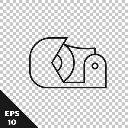 Black line Scotch icon isolated on transparent background. Roll of adhesive tape for work and repair. Sticky packing tape. Office tool and stuff. Vector Illustration Illustration