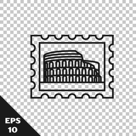 Black line Postal stamp and Coliseum icon isolated on transparent background. Colosseum sign. Symbol of Ancient Rome, gladiator fights. Vector Illustration