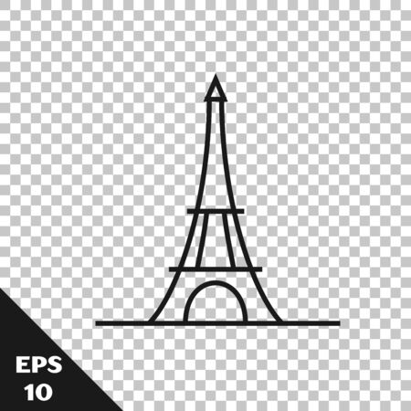 Black line Eiffel tower icon isolated on transparent background. France Paris landmark symbol. Vector Illustration