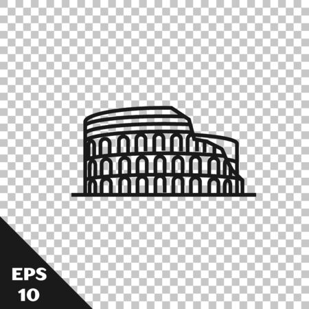 Black line Coliseum in Rome, Italy icon isolated on transparent background. Colosseum sign. Symbol of Ancient Rome, gladiator fights. Vector Illustration