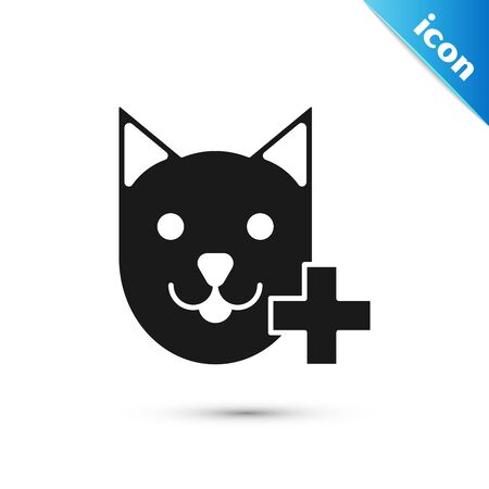 Black Veterinary clinic symbol icon isolated on white background. Cross with cat veterinary care. Pet First Aid sign. Vector Illustration