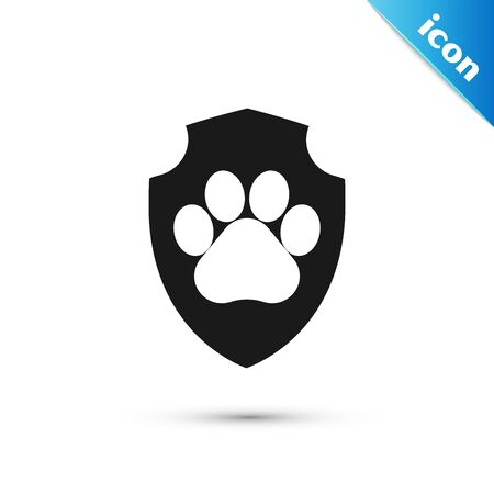 Black Animal health insurance icon isolated on white background. Pet protection icon. Dog or cat paw print. Vector Illustration