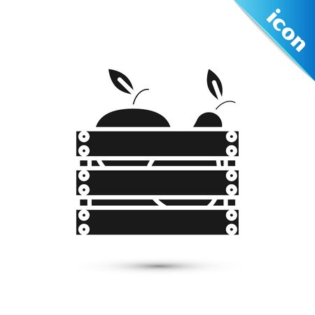 Black Wooden box for fruits and vegetables icon isolated on white background. Vector Illustration