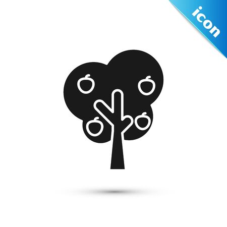 Black Tree with apple icon isolated on white background. Agricultural plant. Organic farm product. Gardening theme. Vector Illustration