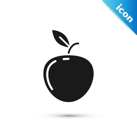 Black Apple icon isolated on white background. Fruit with leaf symbol. Vector Illustration Ilustracja