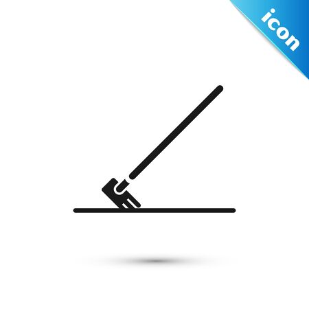 Black Garden rake in work icon isolated on white background. Tool for horticulture, agriculture, farming. Ground cultivator. Vector Illustration Stock Illustratie