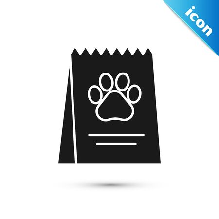 Black Bag of food for dog icon isolated on white background. Dog or cat paw print. Food for animals. Pet food package. Vector Illustration Illustration